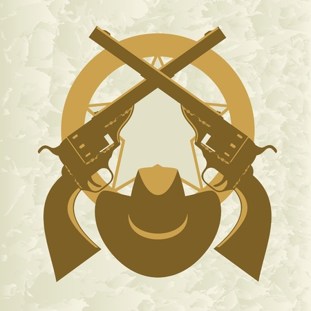 sheriffs: Star of the sheriffs hat and old firearms  The illustration on a white background