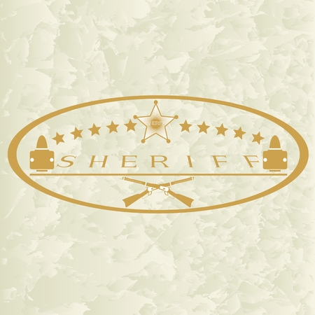 sheriff badge: Old sheriff badge and small arms  The illustration on a white background
