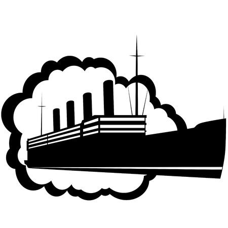 Icons with the image of an old cruise liner  The illustration on a white background  Vector