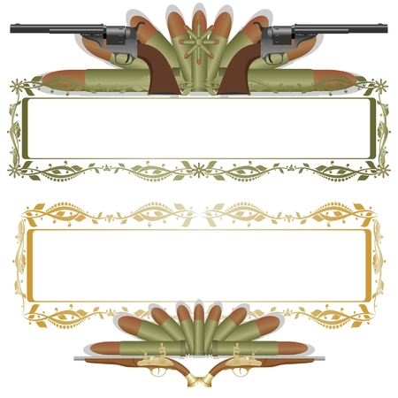 Frame with a pattern, the two old gun on the background of ammunition  The illustration on a white background  Vector
