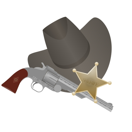 Star of the sheriff s hat and small arms  The illustration on a white background Stock Vector - 24941730
