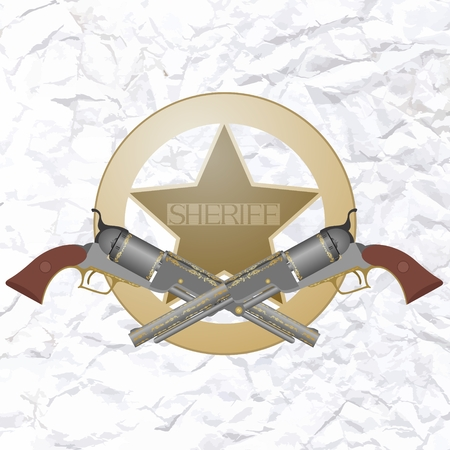 Sheriff star and two old gun  The illustration on a white background  Vector