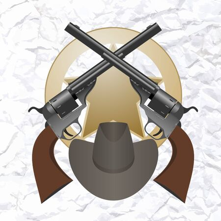 sheriffs: Star of the sheriffs hat and small arms  The illustration