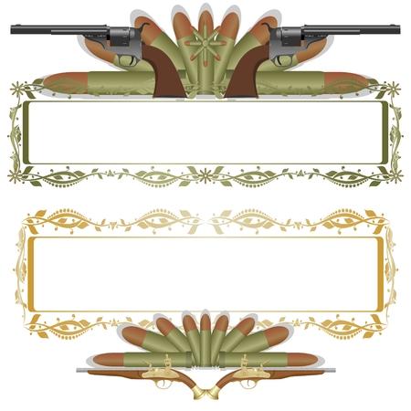 탄약: 패턴에 두 개의 오래 된 총 프레임 탄약의