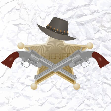 Star of the sheriffs hat and small arms  Stock Vector - 24992263