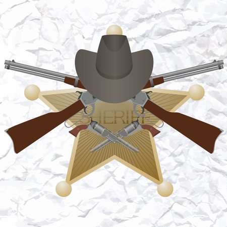 Star of the sheriffs hat and small arms  Vector