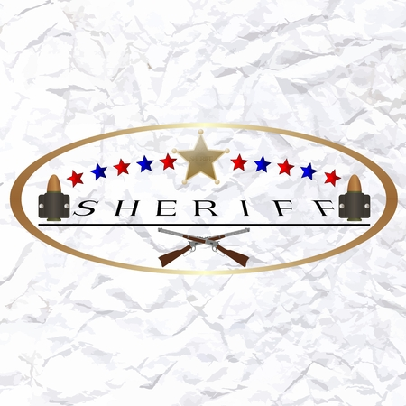 sheriff badge: Old sheriff badge and firearms  Illustration