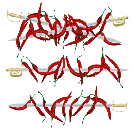 Cayenne pepper and ancient weapons  Illustration on white background
