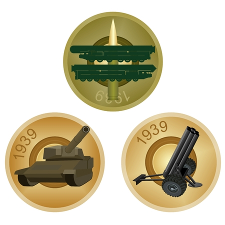 Set of badges with military equipment of the back side of the liner  Illustration Vector