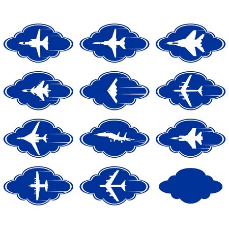 bomber: Abstract icons with aircraft military aircraft against a background of clouds  Illustration on white background