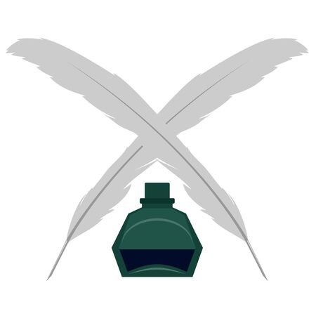 writing instruments: Stationery, two feathers and inkwell  Illustration on white background  Illustration