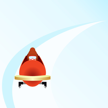 bobsled: Winter sports  Illustration on white background