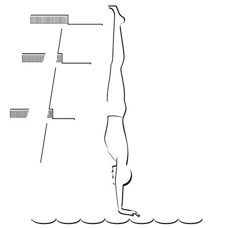 jumping into water: Abstract image of the sportsman  Illustration on white background  Illustration