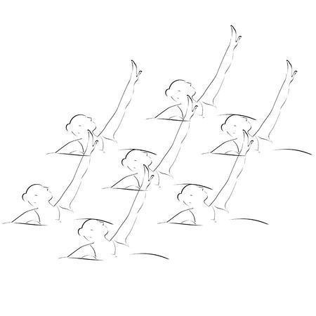 natación sincronizada: Imagen abstracta de la Ilustración deportista en el fondo blanco