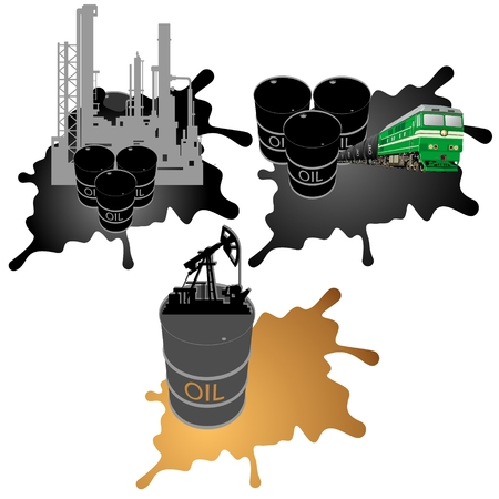 Barrel of oil products, oil platform and the locomotive carrying petroleum products in the background of the oil slick  Illustration on white background