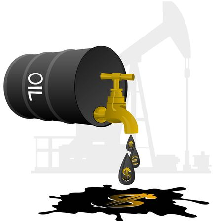 Barrel of oil products and stopcock dripping oil drops with currency symbols  Illustration on white background  Vector