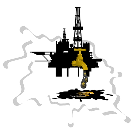 oil derrick: Oil derrick crane from which the drip drop of oil on a background of abstract oil slick  Illustration on white background