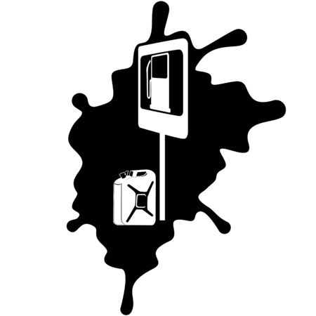 Road sign and canister of gasoline on the background of the oil slick  Illustration on white background