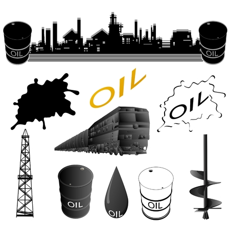 auger: Set oil industry facilities  Illustration on white background