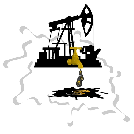 stopcock: Oil pump with stopcock dripping drops of oil on a background of abstract oil slick  Illustration on white background