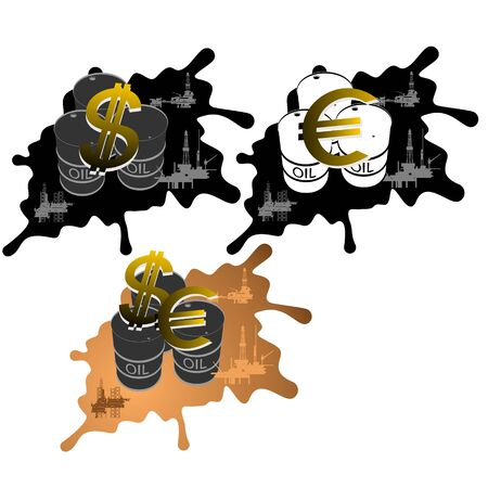 slick: Barrel of oil products and slick with oil platforms currency symbols  Illustration on white background  Illustration