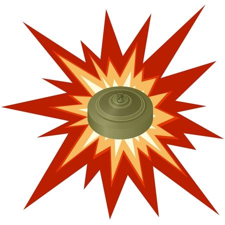 Antitank mine explosion on the background  Illustration on white background  Vectores
