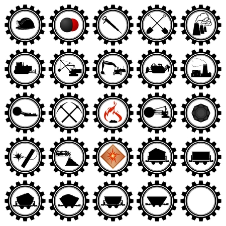 Set of badges and coal mining machinery. Illustration on white background. Vector
