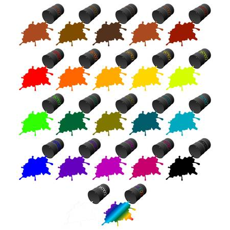 Barrels of colored inks. Illustration on white background.