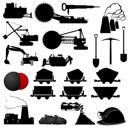 Set of badges and Coal mining industry machinery. Illustration on white background. Vector