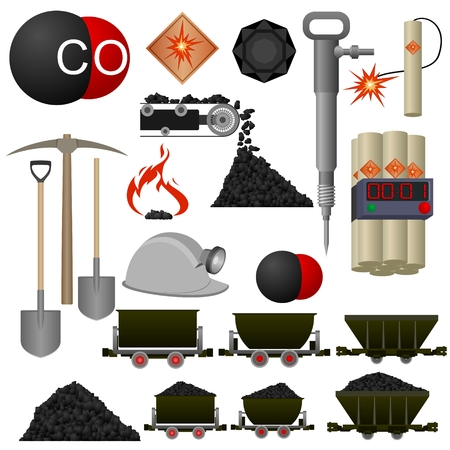 coal: Set of badges and coal mining machinery. Illustration on white background.