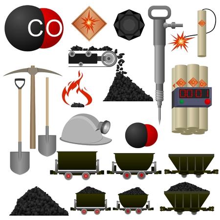 Set van badges en kolen mijnbouwmachines. Illustratie op witte achtergrond.