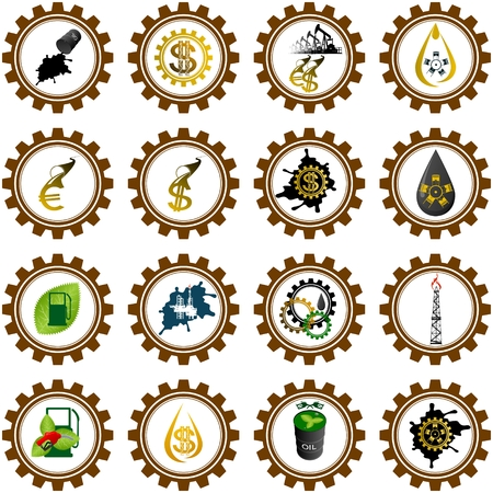 Icon set oil industry. Illustration on white background. Vector
