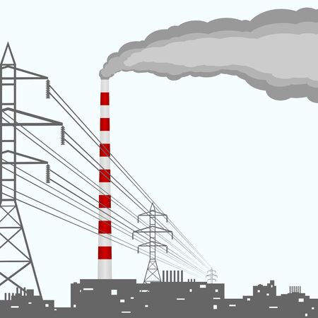 industrial complex: A complex of industrial buildings and electrical towers with wires  Illustration on white background