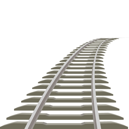 sleepers: Railway line receding into the distance  Illustration on white background