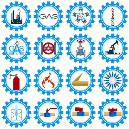 Set icons gas production and gas processing industries  Illustration on white background  Illustration