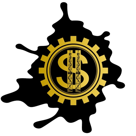 Dollar sign on background cog oil puddles  Illustration on white background  Vector