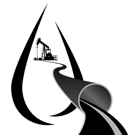 oil pipeline: Oleoducto y una torre de perforaci�n de petr�leo en el fondo al �leo abstracta gotitas Ilustraci�n sobre fondo blanco