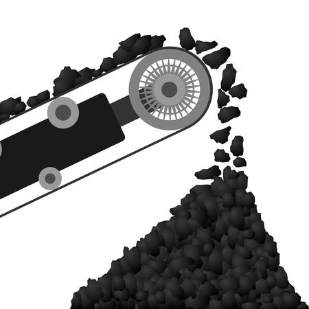 Kolen aankomen op een transportband en gegoten in de kolen stapel Illustratie op een witte achtergrond