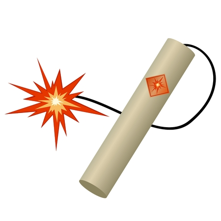 the wick: Stick of dynamite with a burning wick  Illustration on white background
