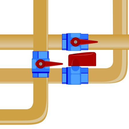 gas pipe: Gas pipe and gas valve  Illustration on white background