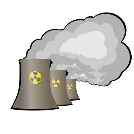 radiation sign: Pipes and energy complex with radiation sign. Illustration on white background.