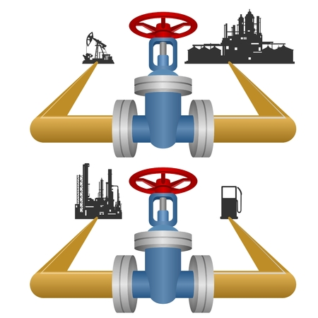 Extraction, processing and use of natural gas. Illustration on white background. Vector