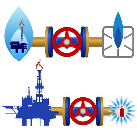 gas pipe: Extraction, processing and use of natural gas. Illustration on white background. Illustration