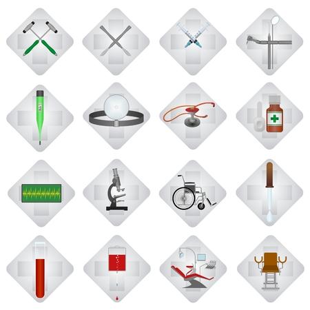 sillon dental: Conjunto de iconos de m�dicos y objetos. Ilustraci�n sobre fondo blanco. Vectores