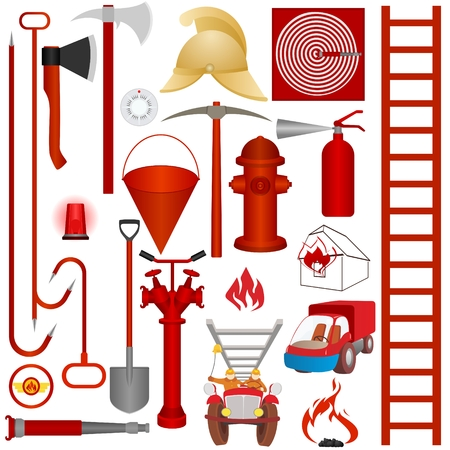 Firefighters tools, accessories and equipment for fire fighting. Illustration on white background. Vector