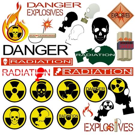 gas mask danger sign: Icons of radiation hazard. Illustration on white background.