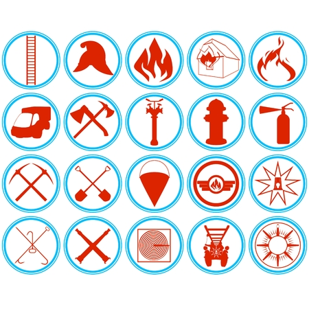 Outlined icons fire tools, supplies and equipment to extinguish the fire. Illustration on white background.