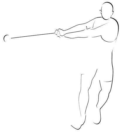 lancer marteau: R�sum� de l'image du sportif Illustration sur fond blanc Illustration