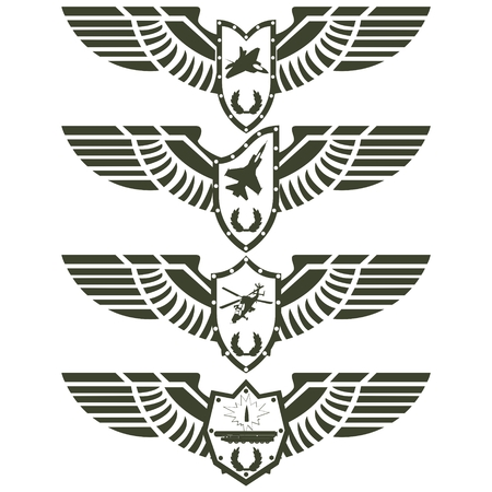 Abstract military badge with wings  Illustration on white background  Vector