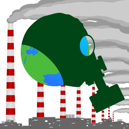 industrial complex: A complex of industrial buildings, smoking chimneys and planet Earth in a gas mask  Illustration on white background